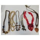7 African Themed and Other Wood Bead Necklaces