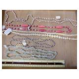 Pink Jasper Dyed Agate & Bone Bead Strands