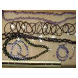 1# Purple Crystal Bead & Polished Stone Strands