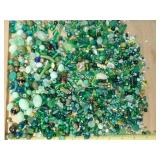 1.5# Green Glass Plastic & Natural Stone Beads