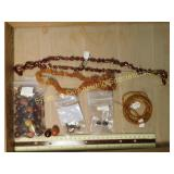 .5# Amber & Topaz Crystal Beads &  Bead Strands