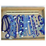 1# 12 Strands Blue Iridescent Glass Beads