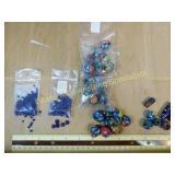 1# Hand Painted Glass Beads + Antique Blown Cobalt