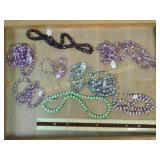 1# Purple Green Silver Toned Bead Strands