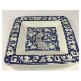 Signed Rampini Italy Square Peacock Plate