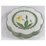 Contemporary Majolica Style Flower Plates