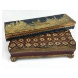 2 Italian Painted Wood Boxes