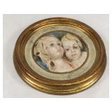 Glazed Antique Ceramic Medallion in Wood Frame