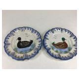 Pr Handpainted Italian Plates w/ Ducks