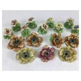 16 Painted Porcelain Italian Flowers