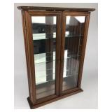 Small Wood Display Case w/ Glass Shelves