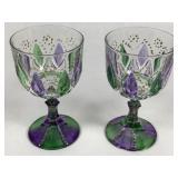 Pair Handpainted Crystal Goblets