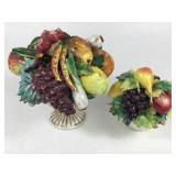 2 Italian Majolica Urns w/Fruit