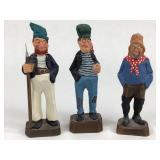 3 American Folk Carved Wood Figures