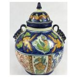 Lg Handpainted Mexican Urn w/ Lid