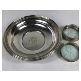 Sterling Silver Bowl & 5 Coasters