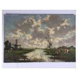 Antique Dutch Pastoral Oil Painting