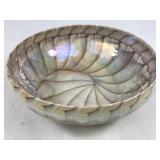 Murano Art Glass Bowl Caramel & White
