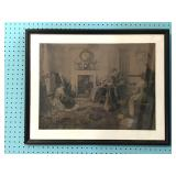 Antique 19thC Lithograph of Family Interior