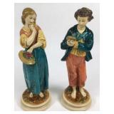 Pr VTG Hand Painted Chalk Borghese Figurines