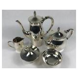 Gorham Silverplate Paul Revere Pattern Tea Set