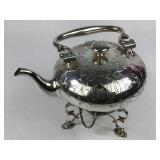 1876 Elkington Silverplate Tilting Teapot & Warmer