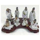 Chinese Ceramic Eight Immortals On Wood Stand