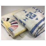 2 VTG Hand Sewn Quilts Fans & Circles w/ Pinwheel