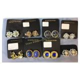 8 Costume Rhinestone Clip Earrings on Cards