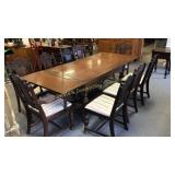 Antique English Oak Dining Table With 9 Chairs