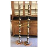 "61.5""H Thai Brass Candle Stands w Custom Base"