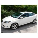 2013 White Ford Focus Titanium 4 Door 54K Miles
