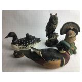 5 Duck, Owl & Grouse Figurines