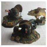 Smallmouth Bass & 2 Turkey Figurines