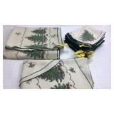 Vintage Christmas Tree Tablecloths Napkins