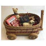 Vintage Wood/Wicker Wagon w/Ornaments