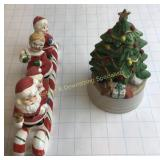 Vintage Ceramic Santa on Candy Cane Sleigh Tree