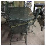 Wrought Iron Patio Table w/ 6 Chairs Spring Rocker
