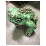 Painted Concrete Garden Frog