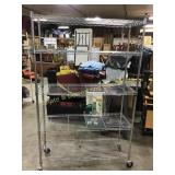 3 Rolling Chrome Shelving Units