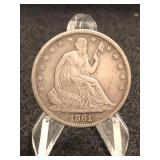 1861-O  Seated Liberty Half Dollar