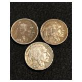 Lot of 3 -1913 Buffalo Nickel