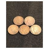 Lot of 5 Indian Head Cents 4-1908 and 1-1909