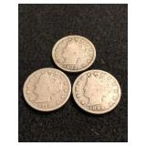 Lot of 3 Liberty Head V Nickels
