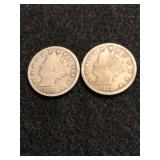 Lot of 2 Liberty Head V Nickels