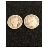 Lot of 2 Barber Dimes