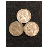 Lot of 3 Silver War Nickels