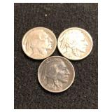 Lot of 3 Buffalo Nickels Mixed Dates