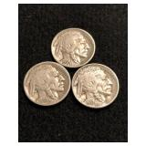 Lot of 3 Buffalo Nickels