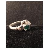 .925 Silver Claddagh Ring - Size 7.5 Green Stone